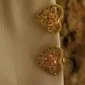 14k yellow and rose gold heart earrings